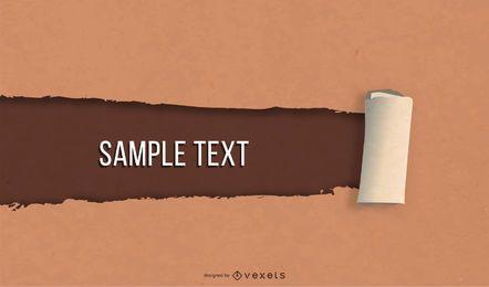Mensaje de papel marrón con efecto rasgado