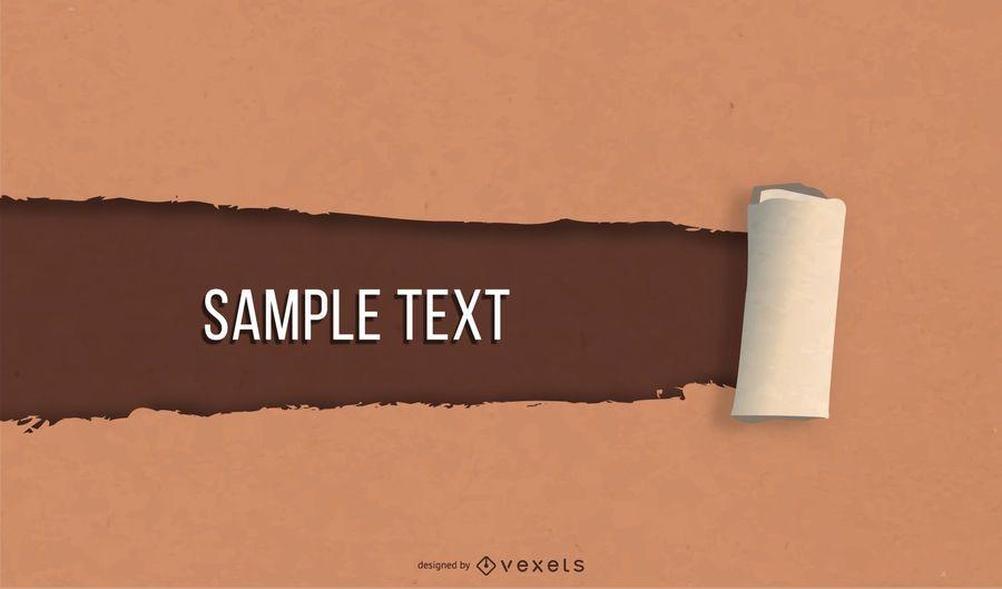 Mensagem de papel marrom com efeito rasgado