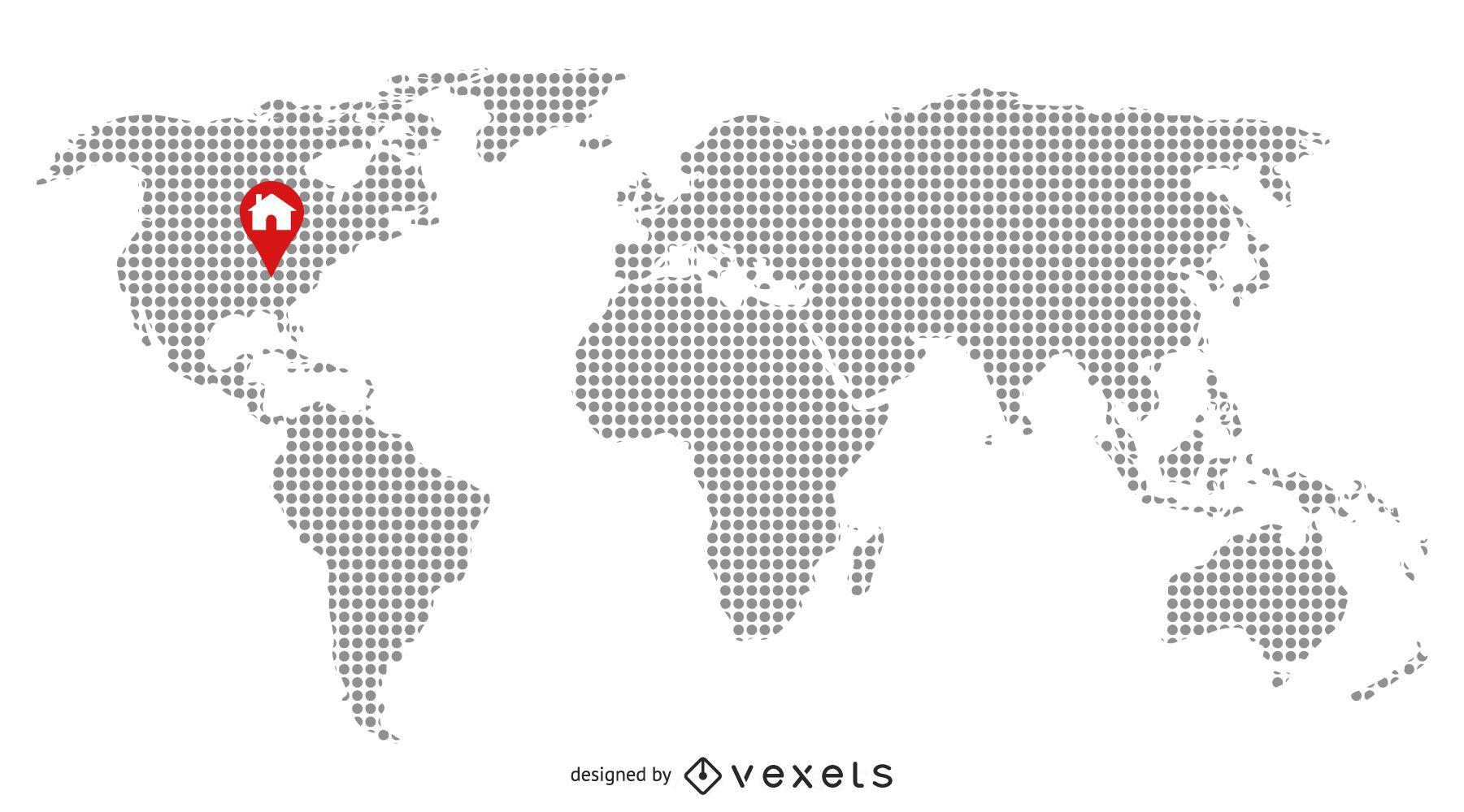 Mapa pixelado con ubicación de inicio