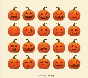 Emoticons de abóbora de Halloween
