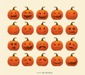 Halloween-Kürbis-Emoticons