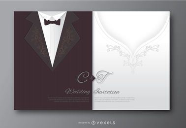 Wedding groom suit and bride's dress invitation
