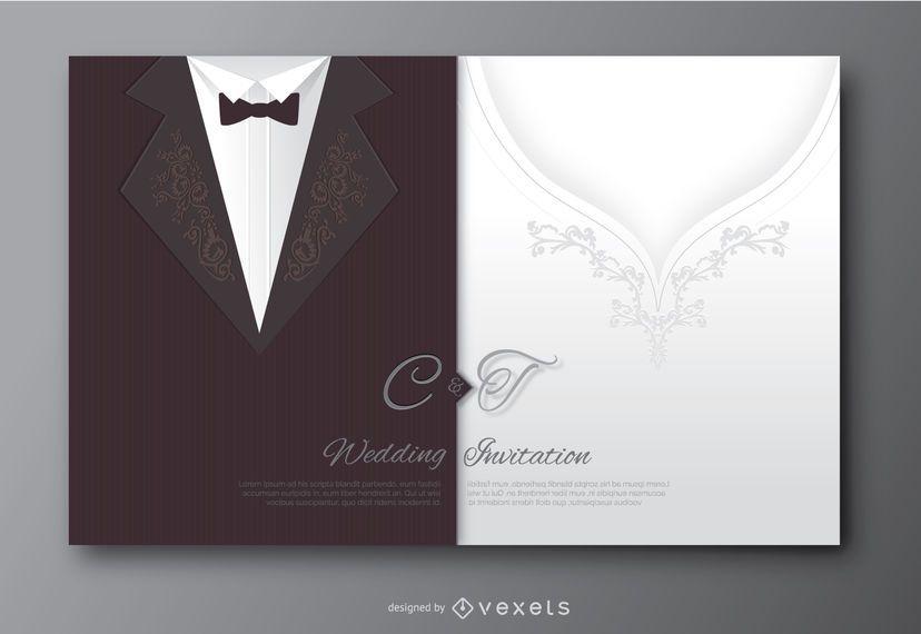 Traje de novio de boda e invitación de vestido de novia