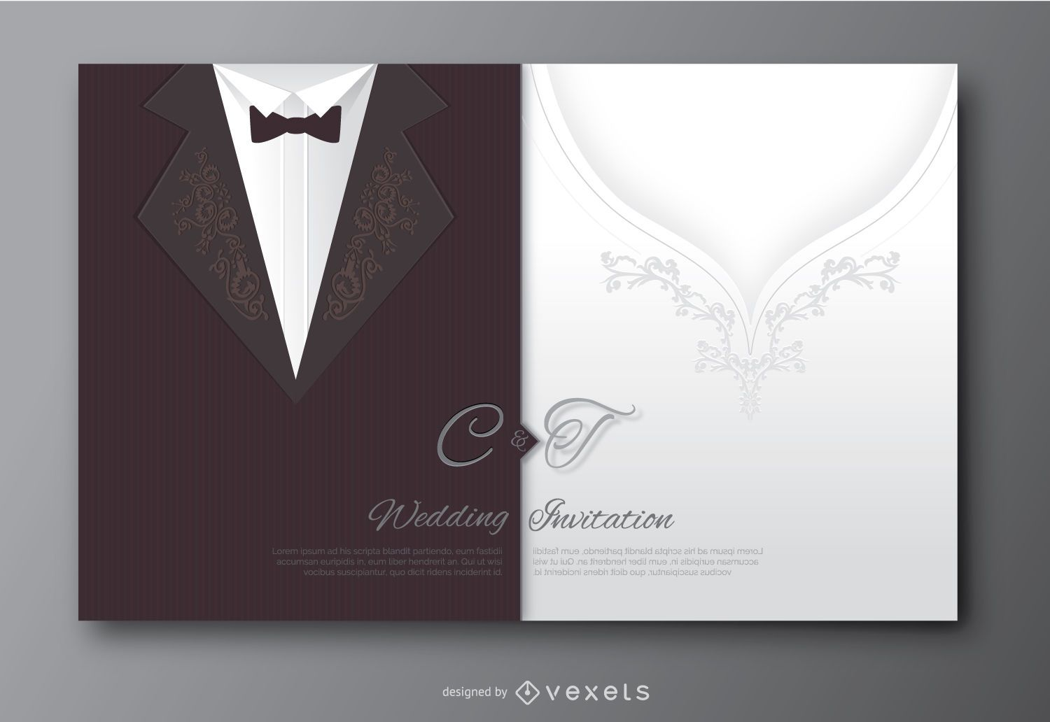 Wedding groom suit and bride's dress invitation - Vector ...