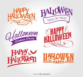 Set de emblemas de halloween feliz