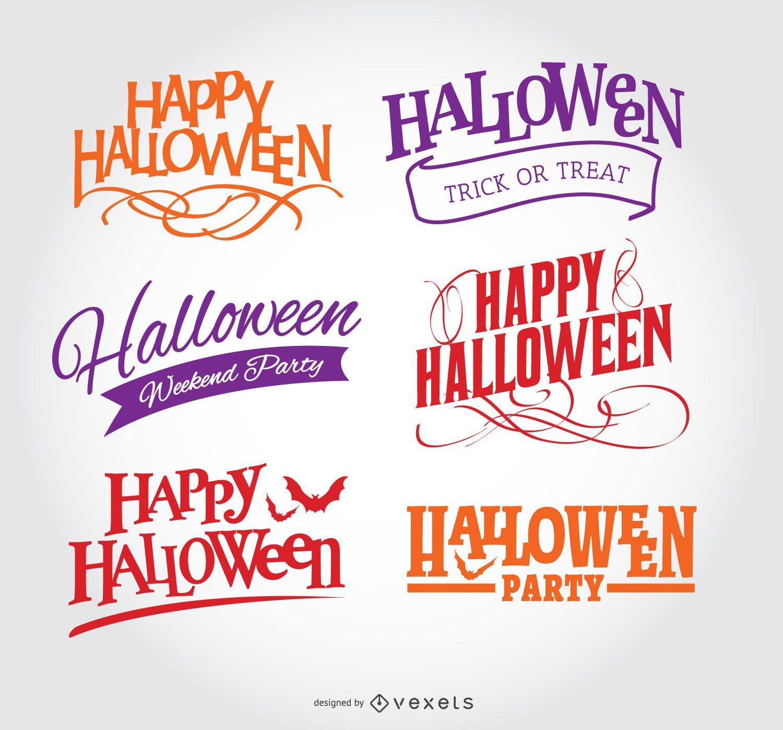 Conjunto de emblemas de feliz dia das bruxas