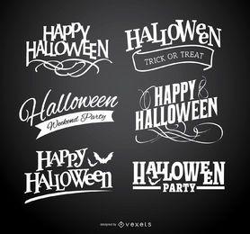 Emblemas com o logotipo de feliz dia das bruxas