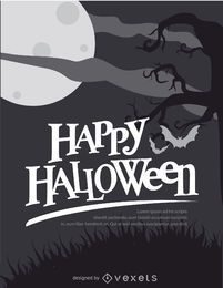 Halloween Retro Black and white poster