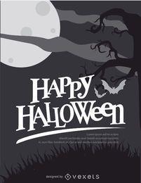 Poster preto e branco retro do Dia das Bruxas