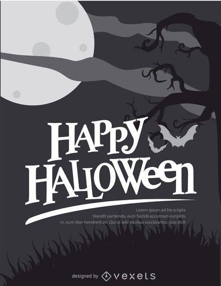 Halloween retro black and white poster