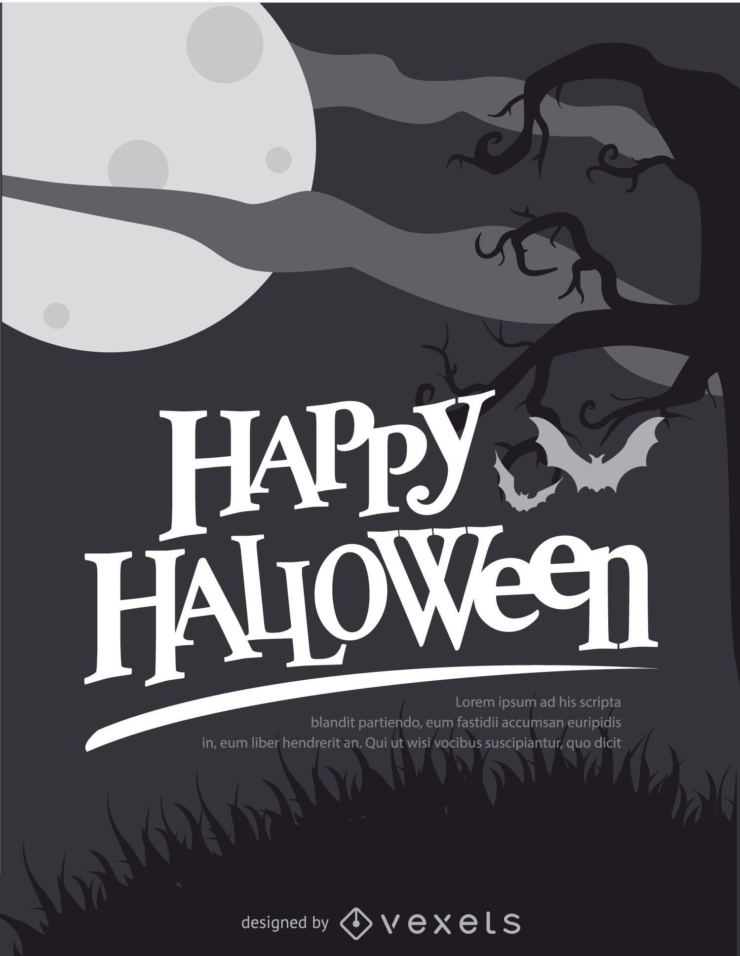 Cartel blanco y negro retro de Halloween
