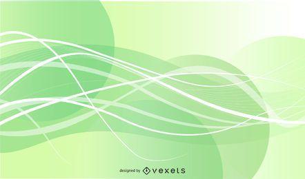 Fundo de linhas de ondas verdes abstratas
