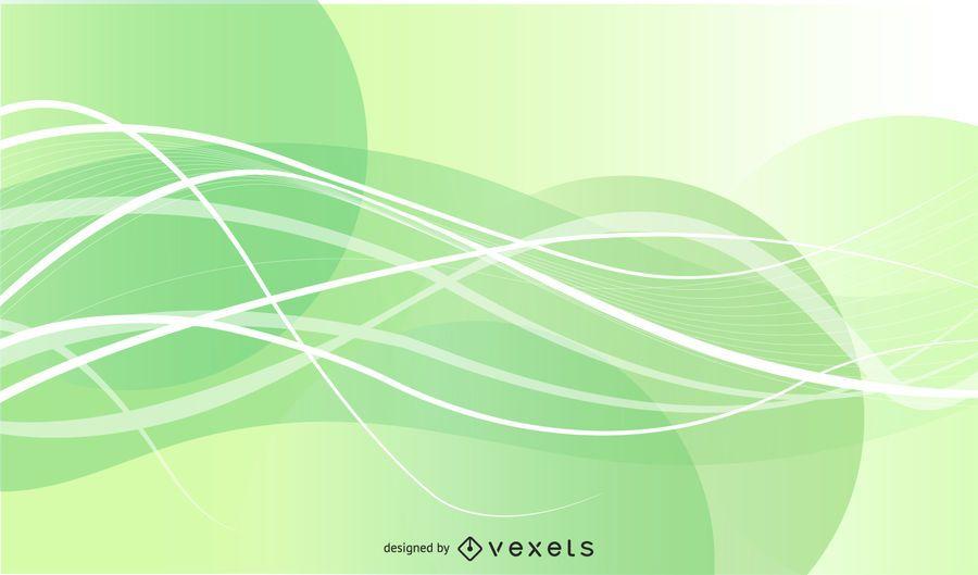 Fondo de líneas abstractas ondas verdes