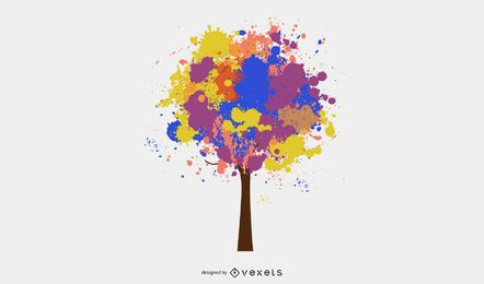Pintura Colorida Espirrada Árvore