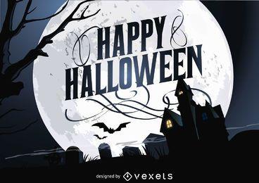 Cartel feliz Halloween de la casa encantada