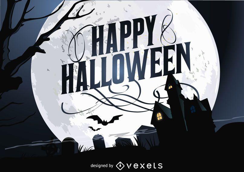 Feliz dia das bruxas assombrado cartaz de casa
