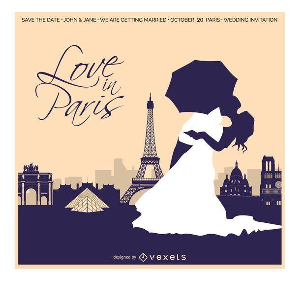 Tarjeta de invitación de boda en París