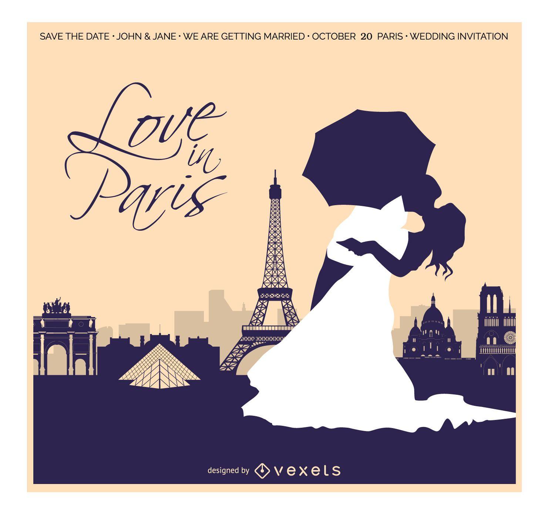 Boda en tarjeta de invitación de París
