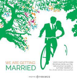 Hochzeits-Einladungs-Karten-Weinlese-Fahrrad