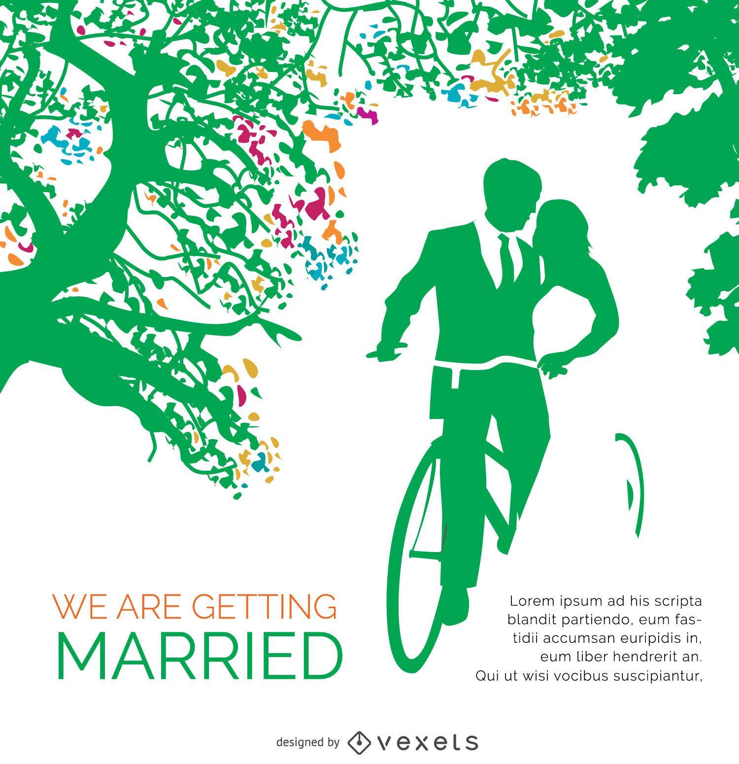 Wedding Invitation Card Vintage Bike