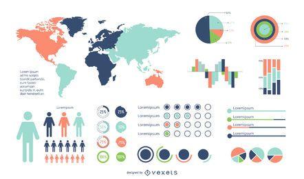 Conjunto de infografía colorido mínimo