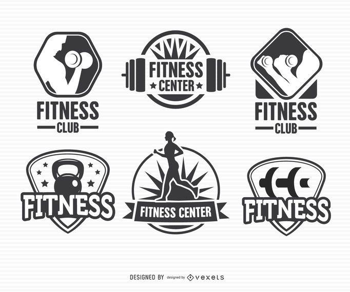 Conjunto de logotipo de etiqueta de etiqueta de fitness