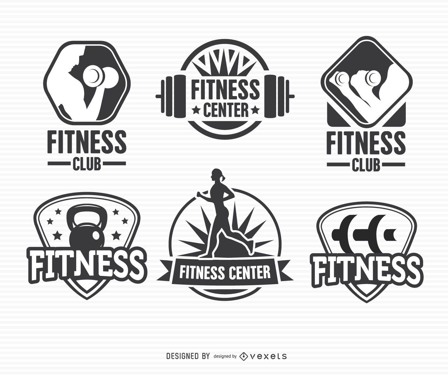 Conjunto de logotipo do emblema de etiqueta de fitness