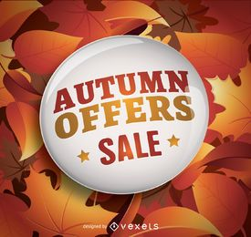 Autumn sale circle and leaves background
