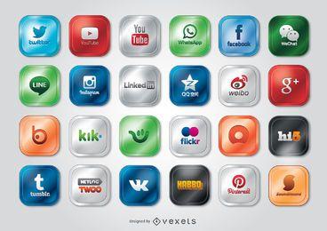 Las redes sociales y los iconos de aplicaciones y logotipos