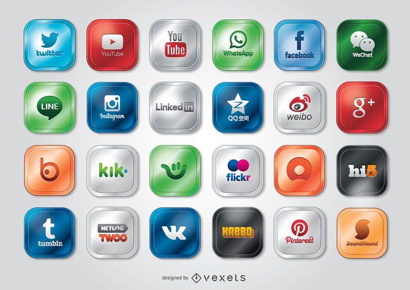 Sites de mídias sociais e ícones de aplicativos e logotipos