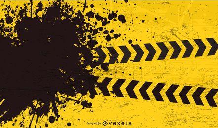 Fondo de precaución amarillo rasgado negro