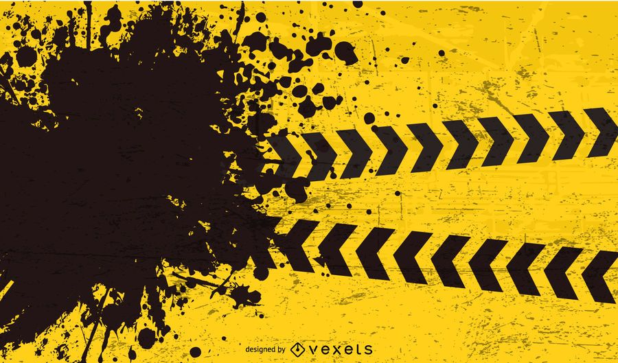 Black Torn Yellow Caution Background