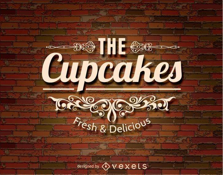 Cupcakes logo over a brickwall