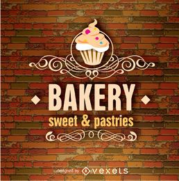 Bakery emblem over a brick wall