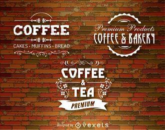 3 emblemas de café sobre uma parede de tijolos vintage