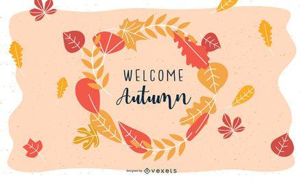 Banner de círculo com folhas de outono