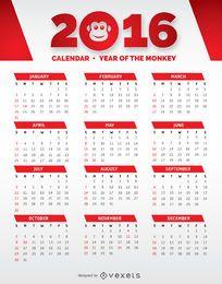 Calendário 2016 vermelho e branco