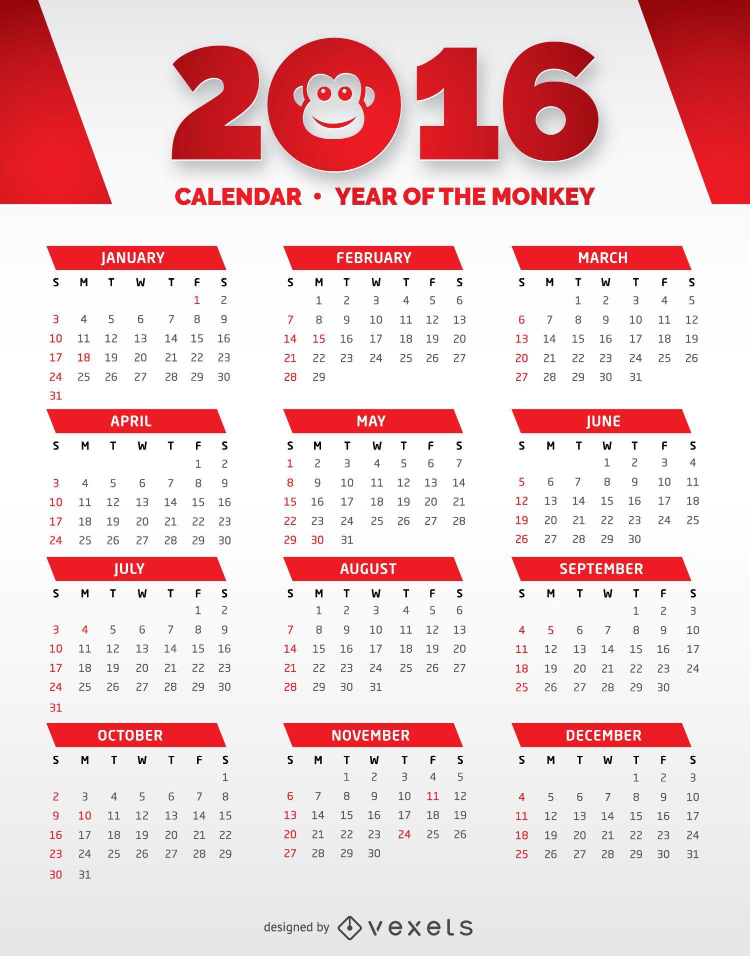 Calendario rojo y blanco 2016