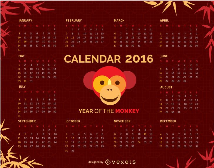 2016 Calendar with Monkey