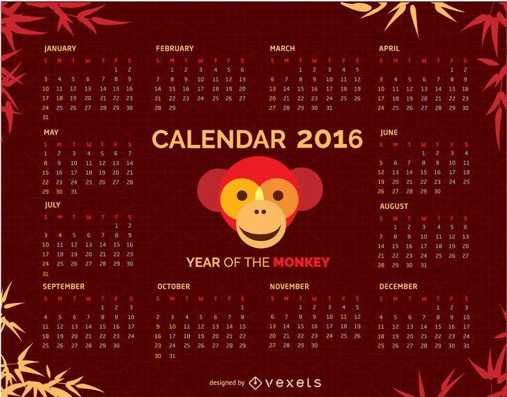 Calendário 2016 com macaco