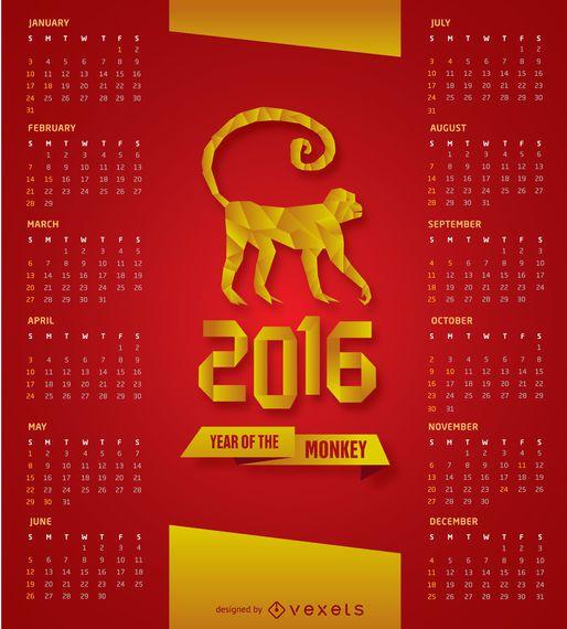 2016 calendário vermelho e dourado
