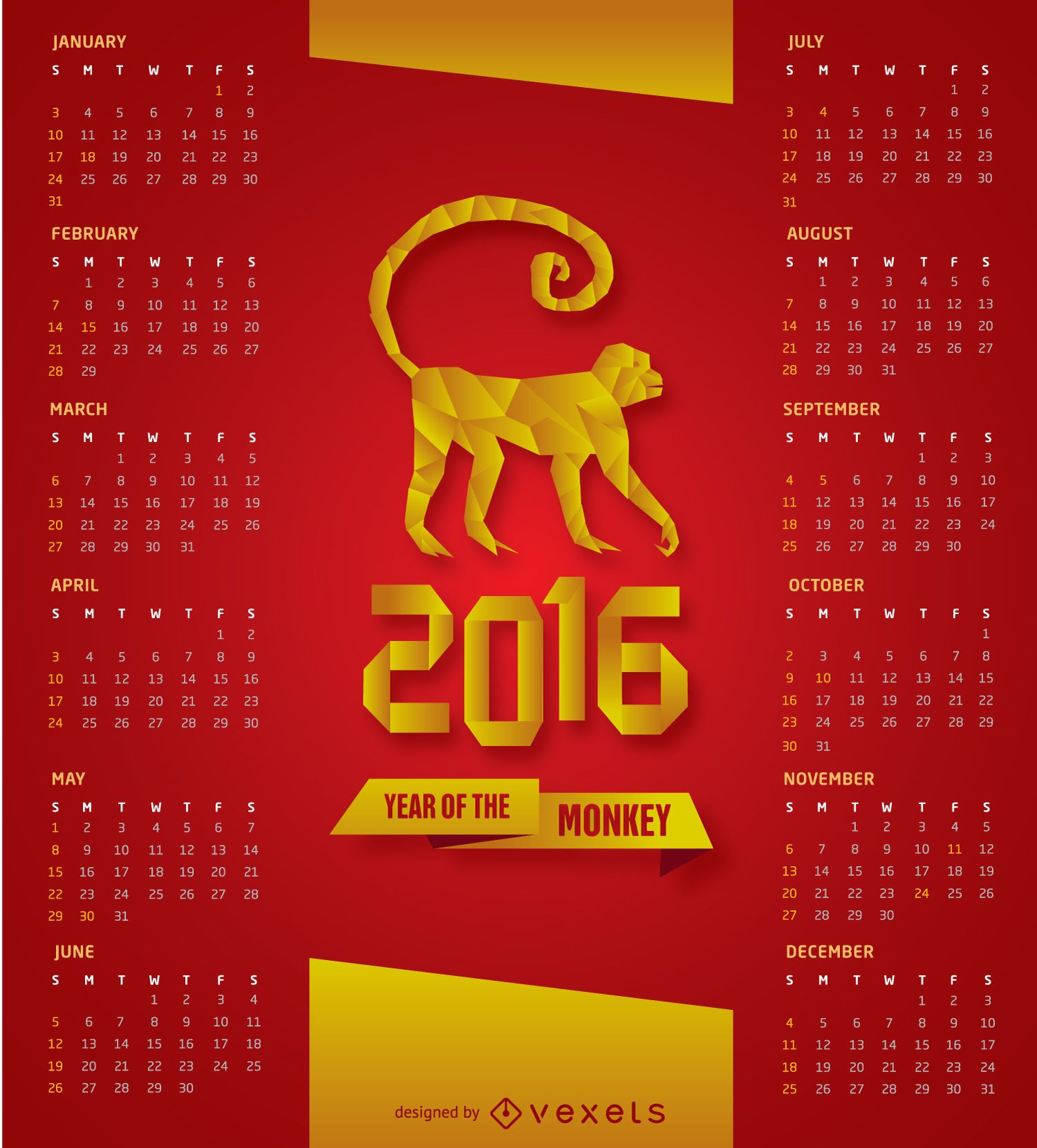 2016 calendar Red and gold