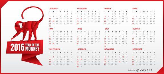 Calendário 2016 horizontal com macaco