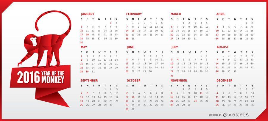 Horizontaler Kalender 2016 mit Affen
