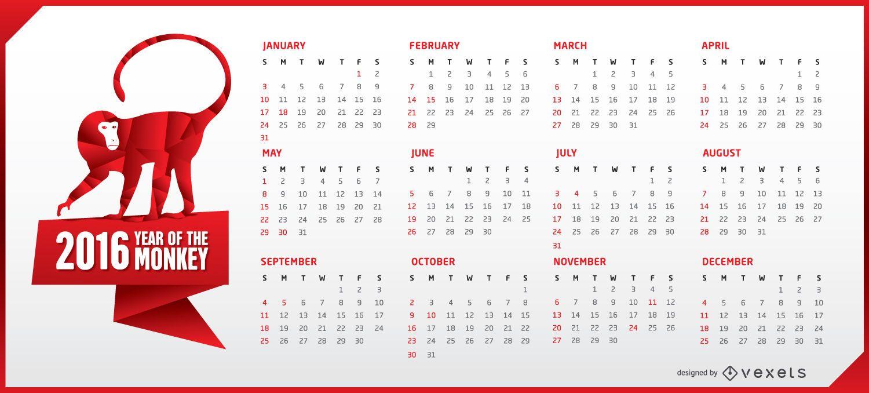 Horizontal 2016 calendar with monkey