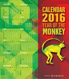 Calendário do ano de macaco de 2016