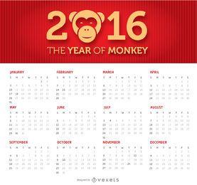 2016 calendário simples e limpo