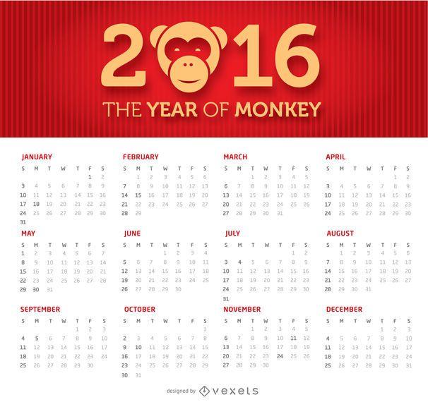 2016 einfacher und sauberer Kalender