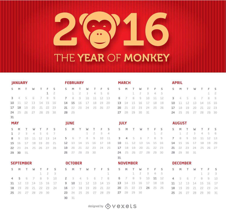 2016 simple and clean calendar