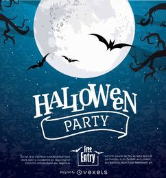 Cartel de la luna de Halloween